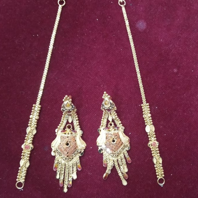 22KT gold Delicate Earring with earchain