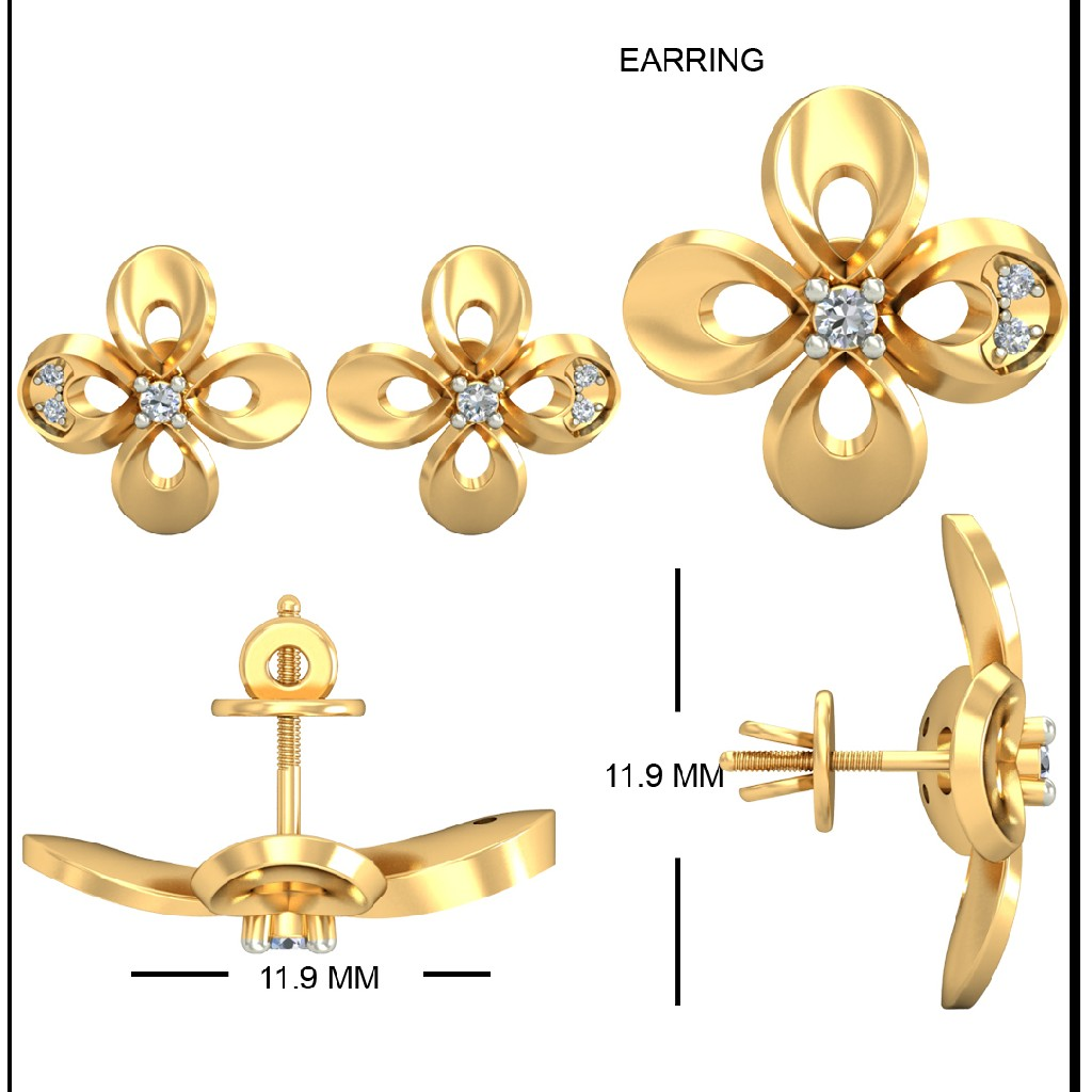 22Kt Yellow Gold Hester Earrings For Women