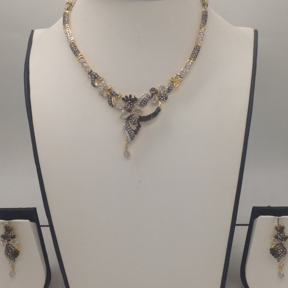 Black And White CZ Stones Necklace Set JNC0059