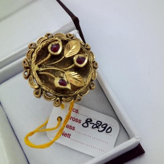 916 Gold Antique Leaf Design Bridal ring CMJ-R001