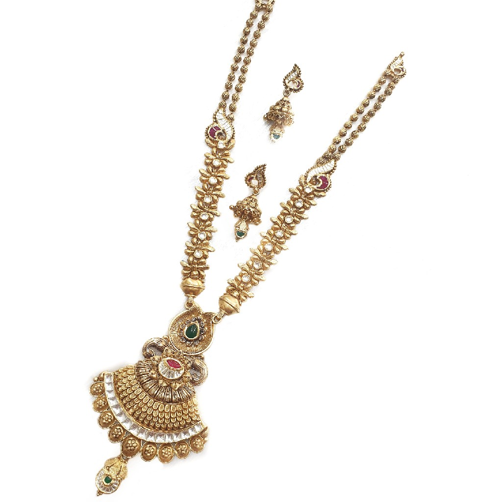 916 Gold Antique Necklace Set MGA - AN001