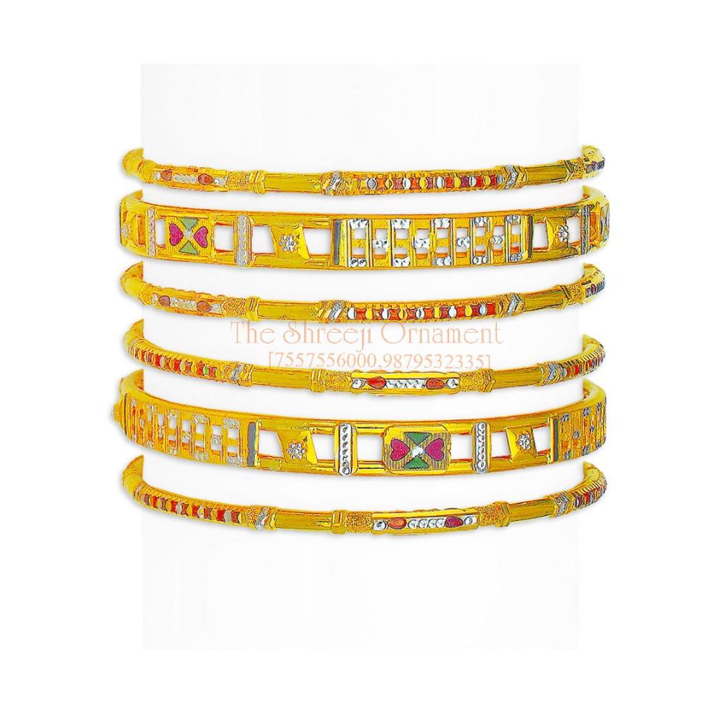 916 Gold Designer 6 Pair Bangle Set - 003