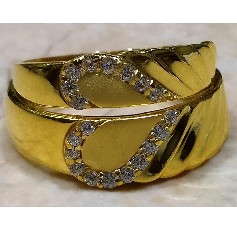 22kt gold casting heart shape couple ring
