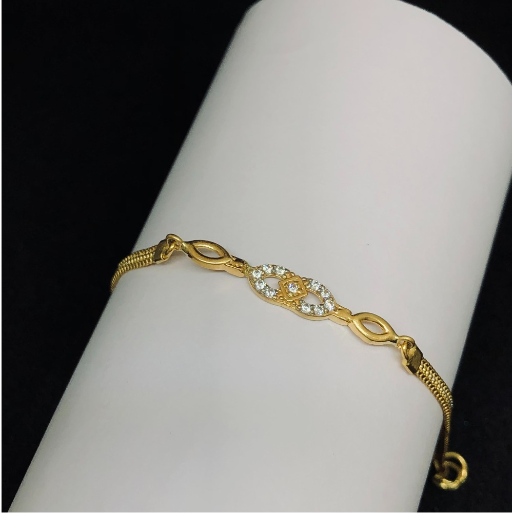 22kt, 916 HM, Gold And Diamond Loop In Loop Bracelet for women JKB093