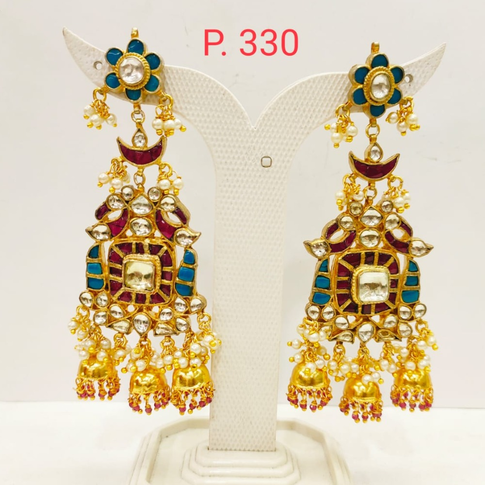 Bridal Ruby & Sky blue Gold tone Long Earring with hanging Jhumka 1711