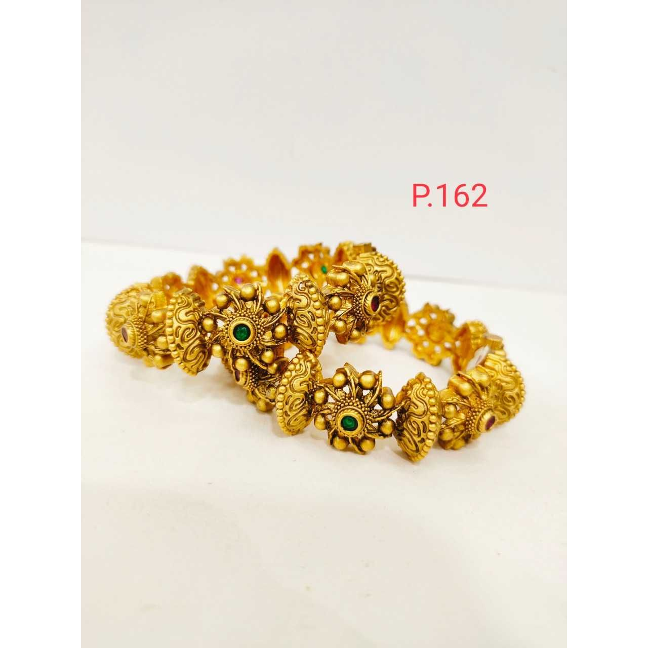 Antique gold plated nakshi flower work with red and green stone & screw openable kada 1217