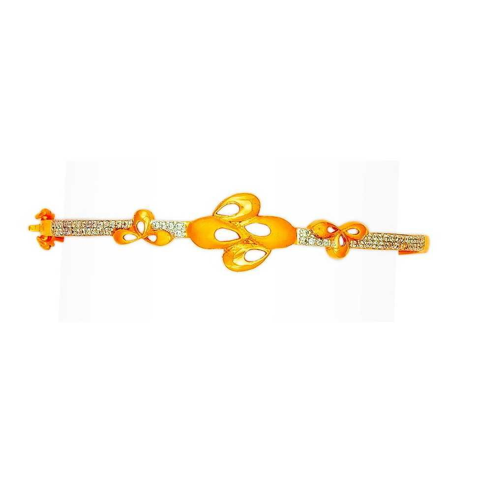 916 Flower Design Gold Fancy Ladies Bracelet