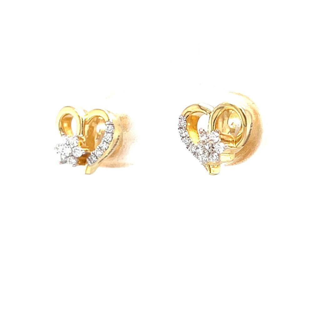 Schön little heart diamond stud in 18k yellow gold