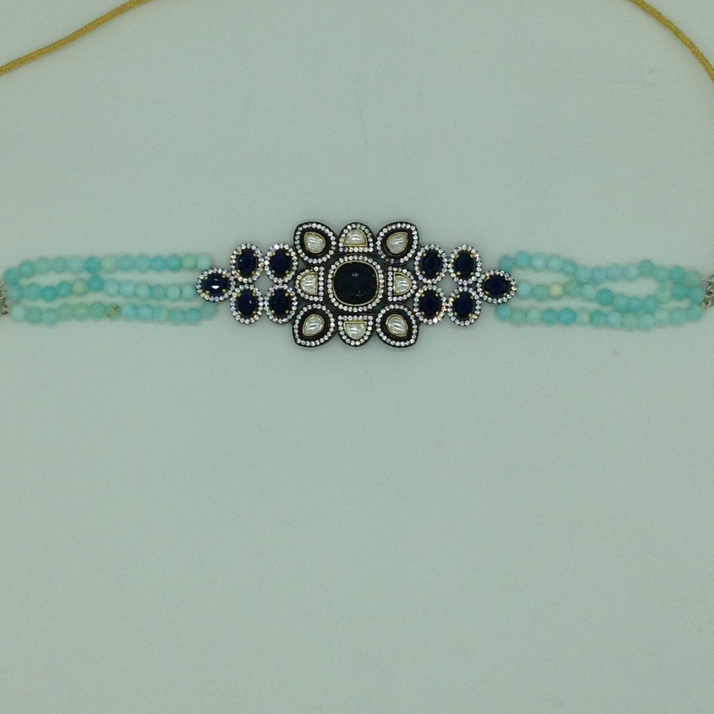 White And BlueCZ ChokerSet With 3Line BlueBeedsJPS0567