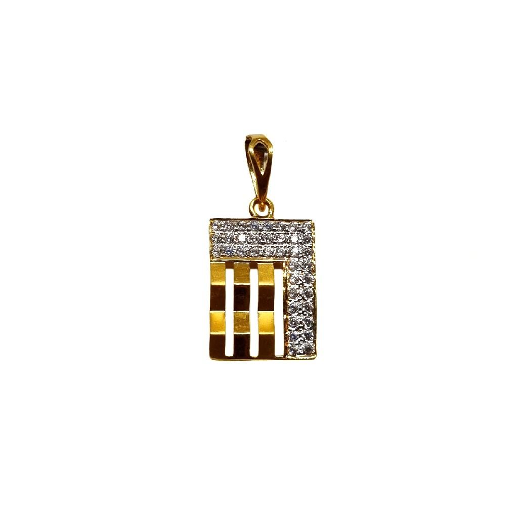 22K Gold Rectangle Shaped Designer Gents Pendant M...