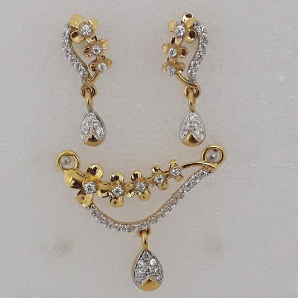 916 cz gold exclusive ms pendant set