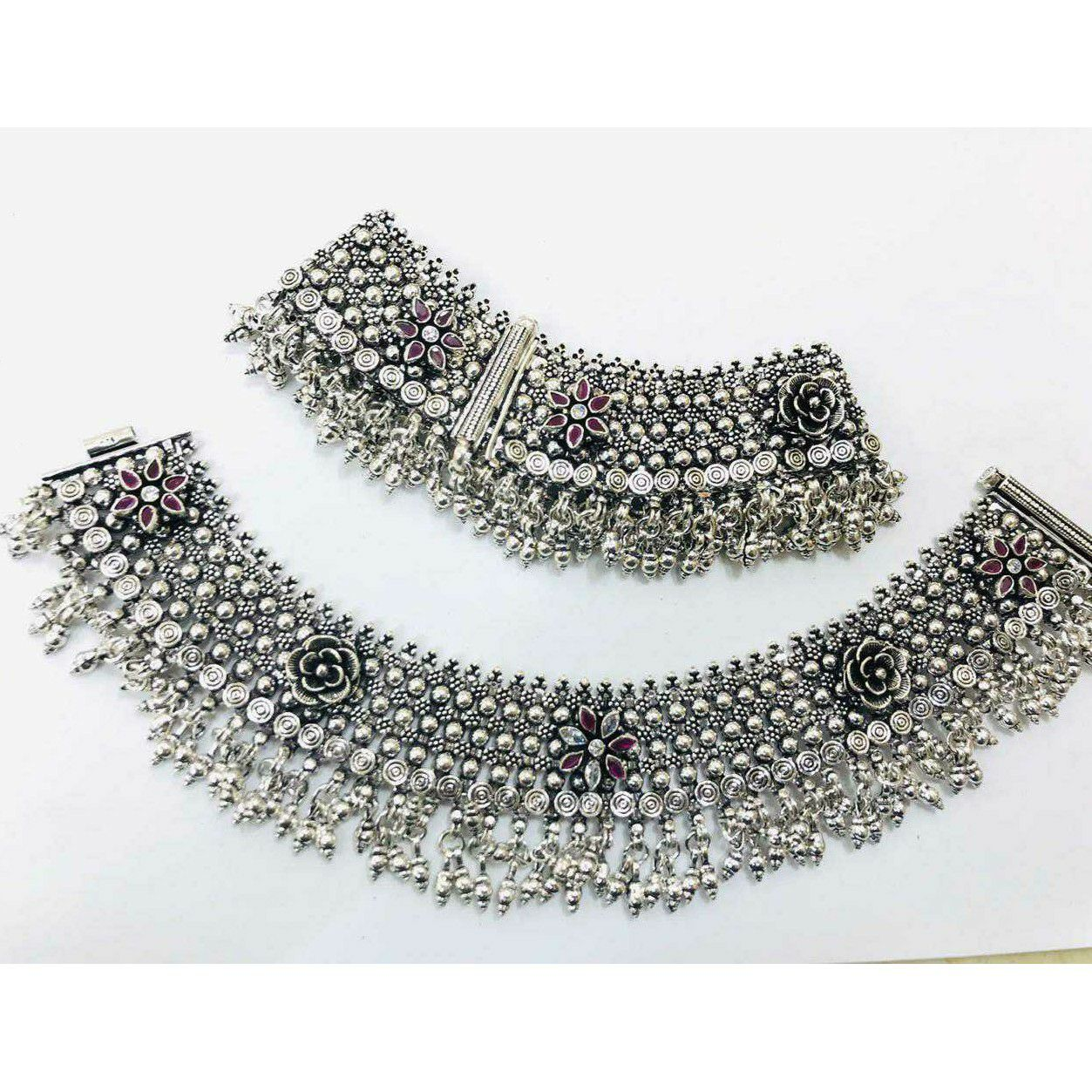 92.5 Sterling Silver Oxodize Heavy Look Town(Village) Janjari Payal(Anklet) Ms-3810
