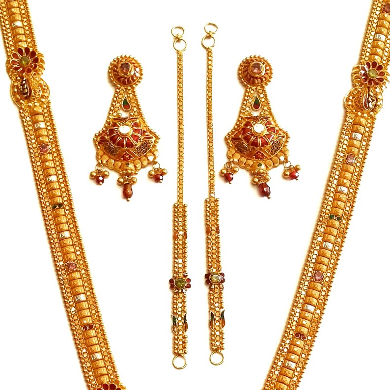 22k Gold Kalkatti Meenakari Flowers Necklace With Earrings MGA - GLS083