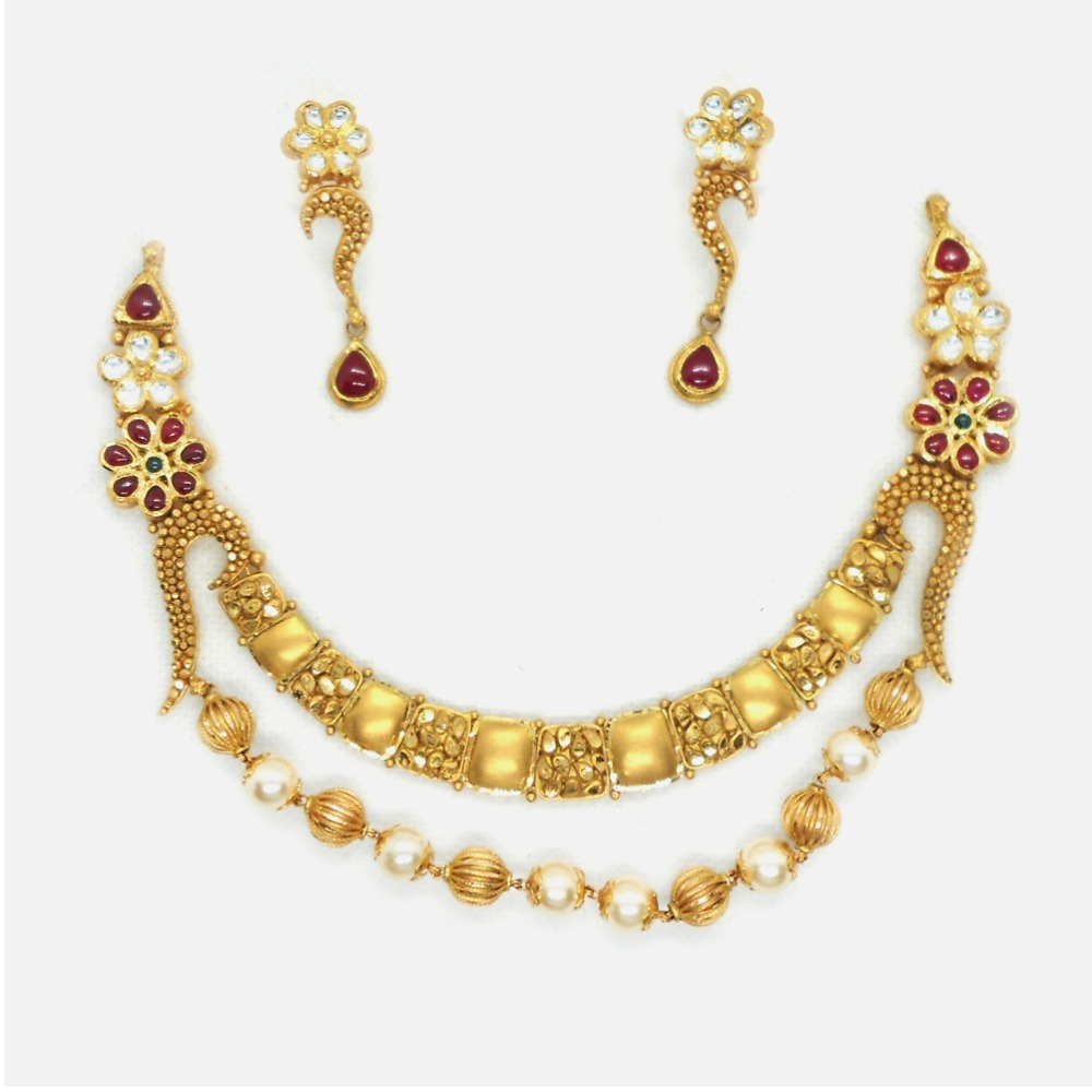 916 Gold Antique Bridal Necklace Set RHJ-4068
