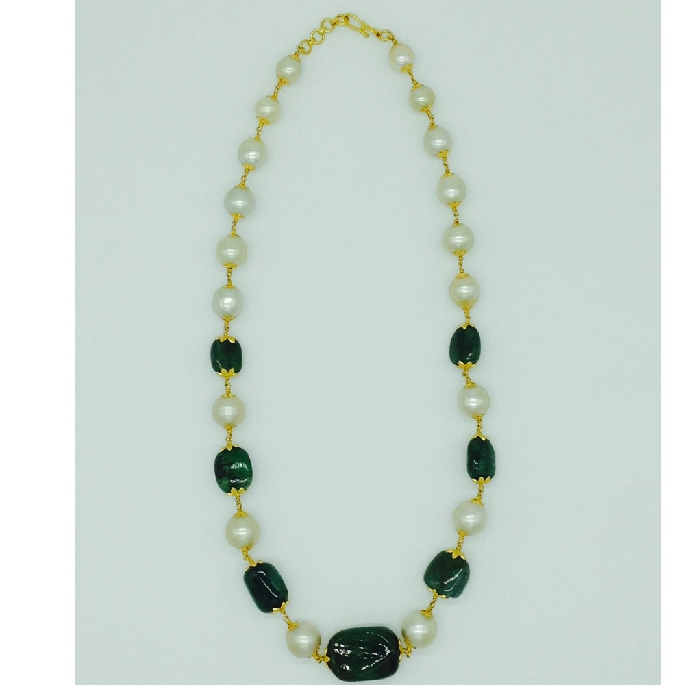 South sea pearls with emerald tumbles gold taar necklace jgt0003