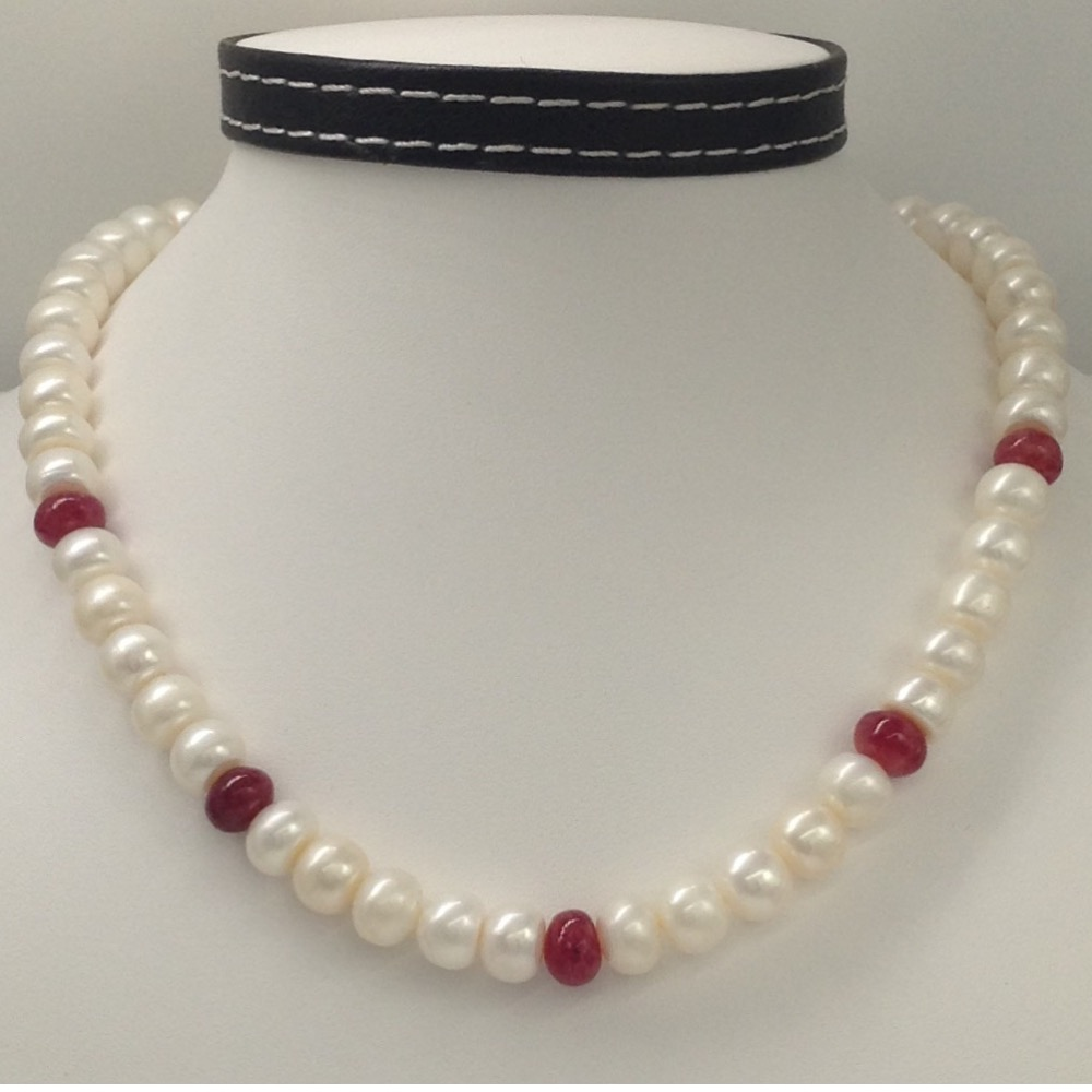 Freshwater white flat pearls with red ruby beeds mala JPM0190