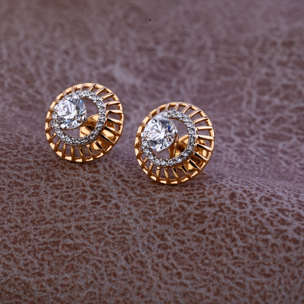 Ladies 18K Rose Gold Designer CZ Earring -RE79