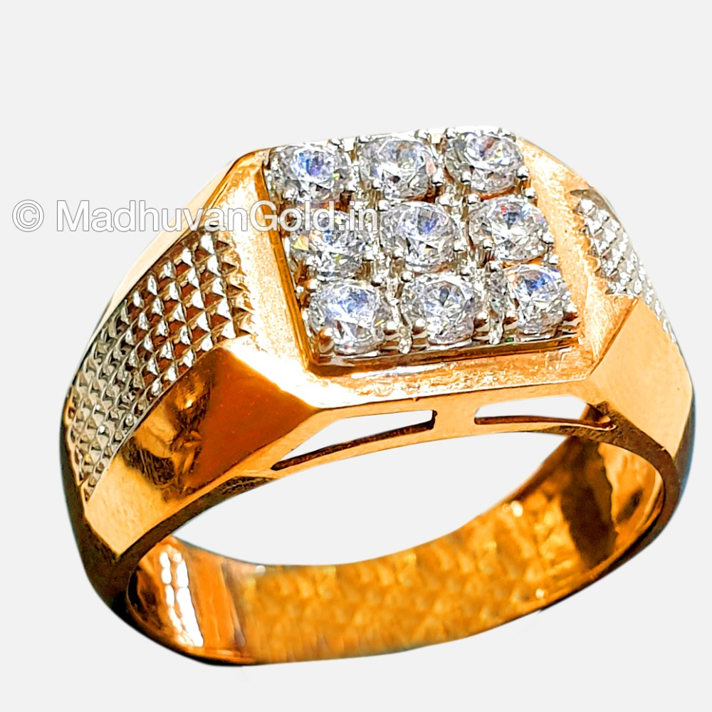22KT Gold Stylish Indian Diamond Gents Ring