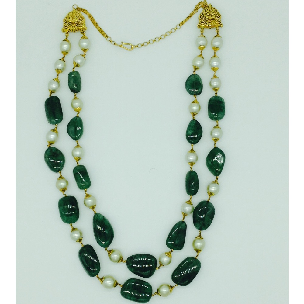 south sea pearls with beryl tumbles gold taar necklace JGT0009