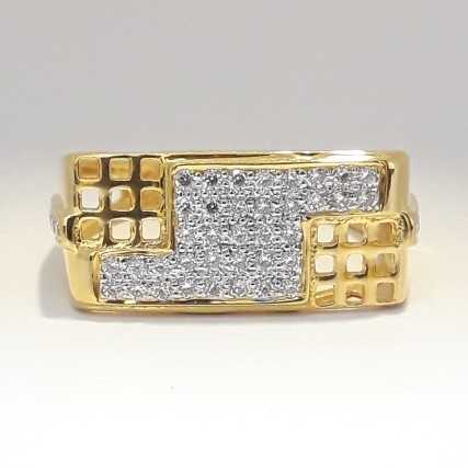 916 cz gold casual ring for men