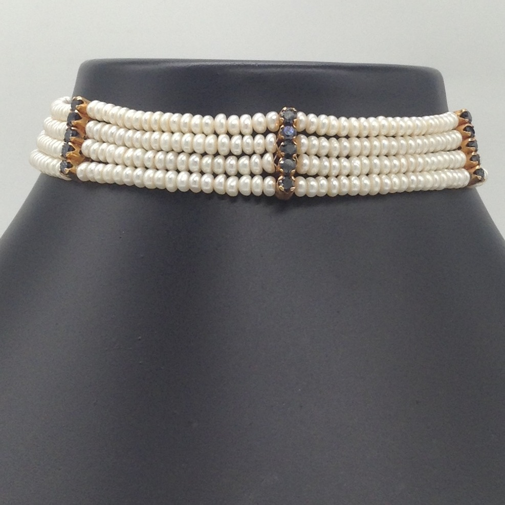 Freshwater White Flat Pearls 4 Layers Choker With 3 Black CZ Patti JPM0359