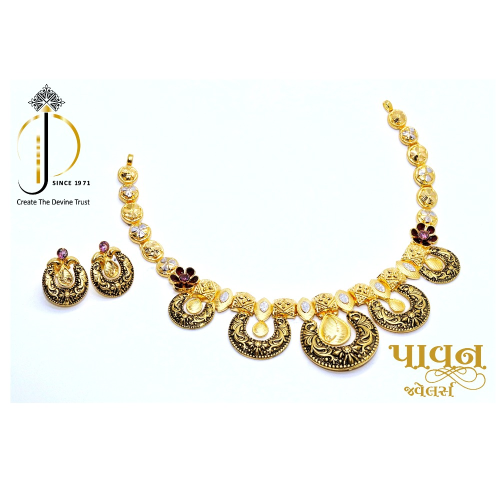 916 / 22 ct Antique Chokar Necklace Set with Earrings For Women ST0023