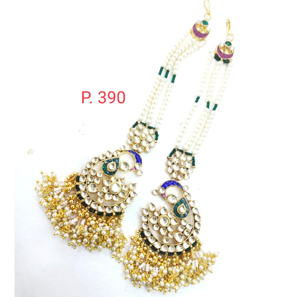 Peacock Design Kundan  & hanging moti Earring with earchain 1640