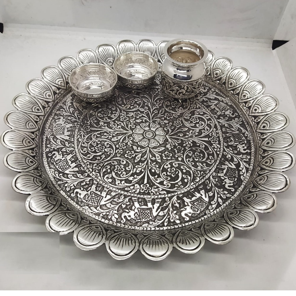 elephant motif pooja thali set in real silver antique work by puran