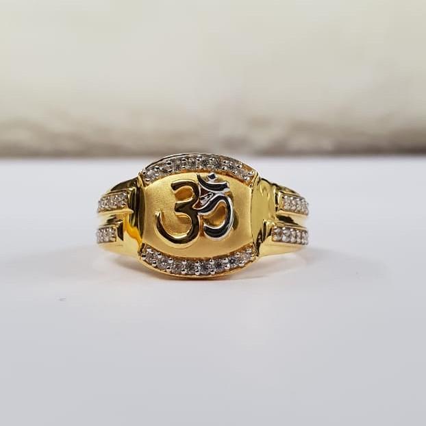 22kt Gold Two line Cz Fancy om Ring for Men