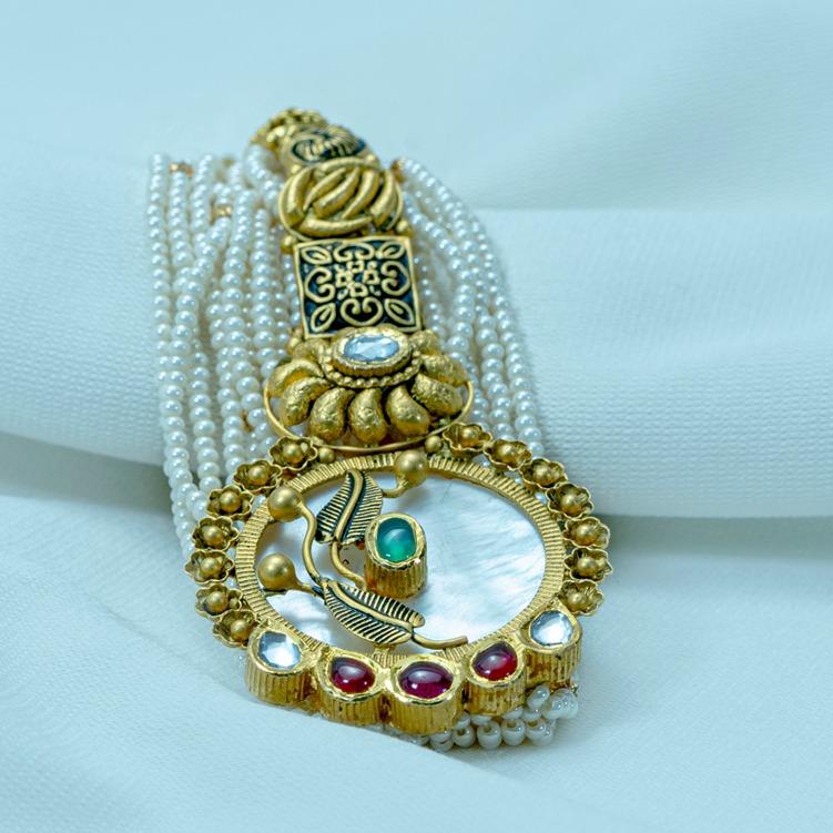 916 gOLD Antique Double Shade Bracelet LB-567