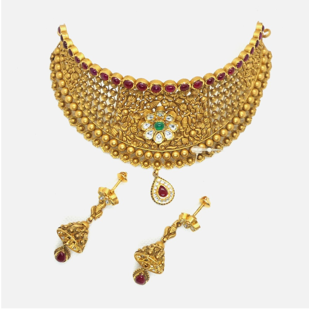 Buy Quality 22kt Gold Antique Wedding Choker Necklace Set Rhj