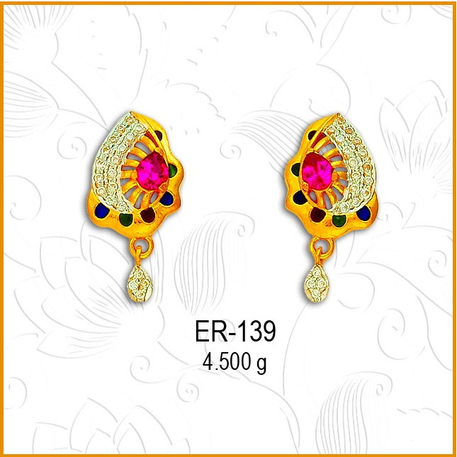 916 CZ Gold Leaf Colored Stone Earring ER-139