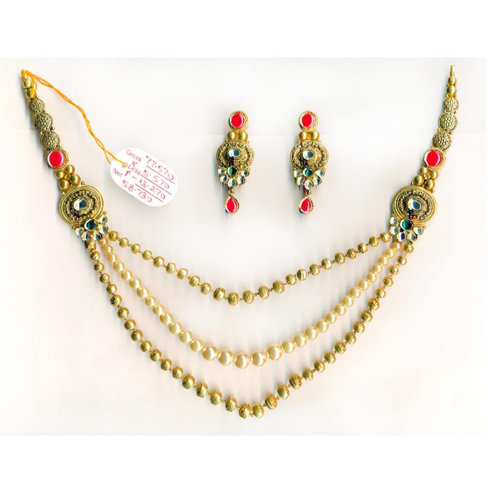 22KT Gold Light Weight Beaded Long Necklace Set-019