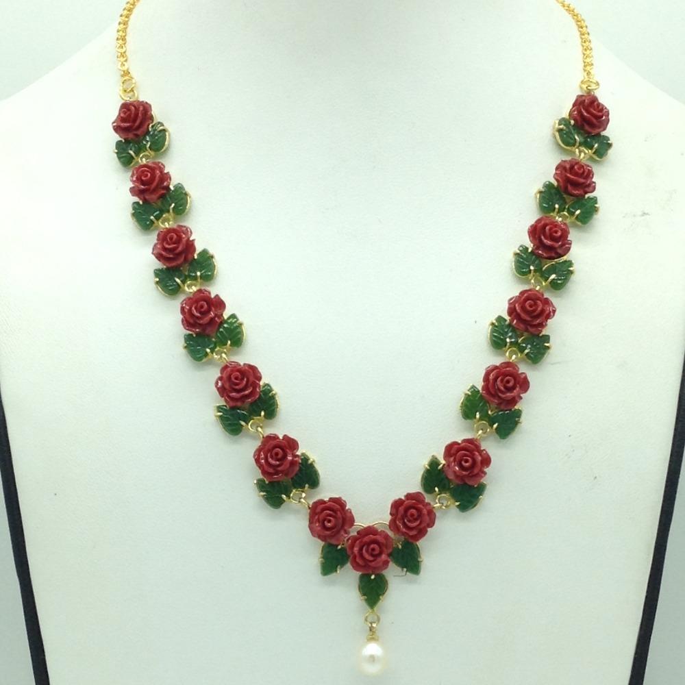 Coral Flower andJade Leaves Necklace Set JNC0133