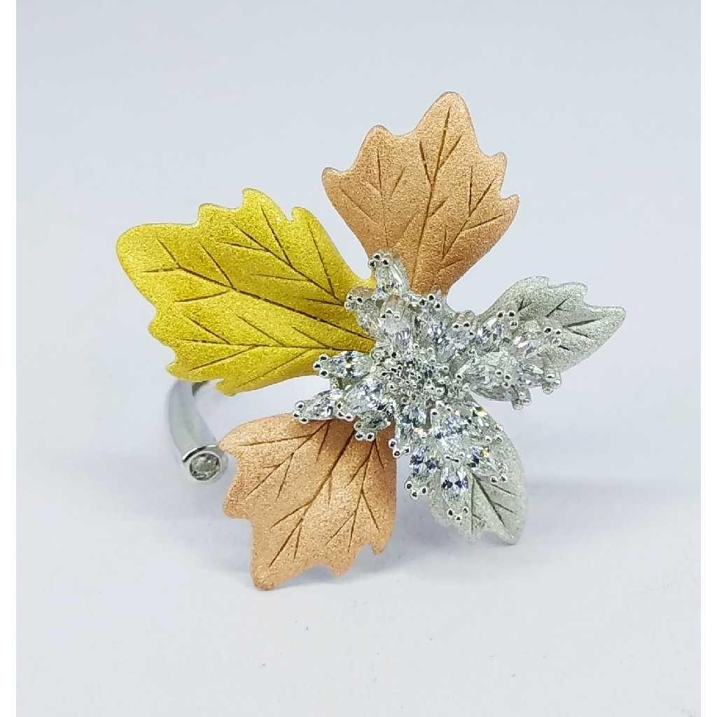 Tri colour 92.5 silver ring MG-R004