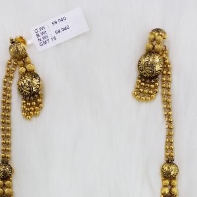 22KT Gold Beads Designer Long Necklace Set