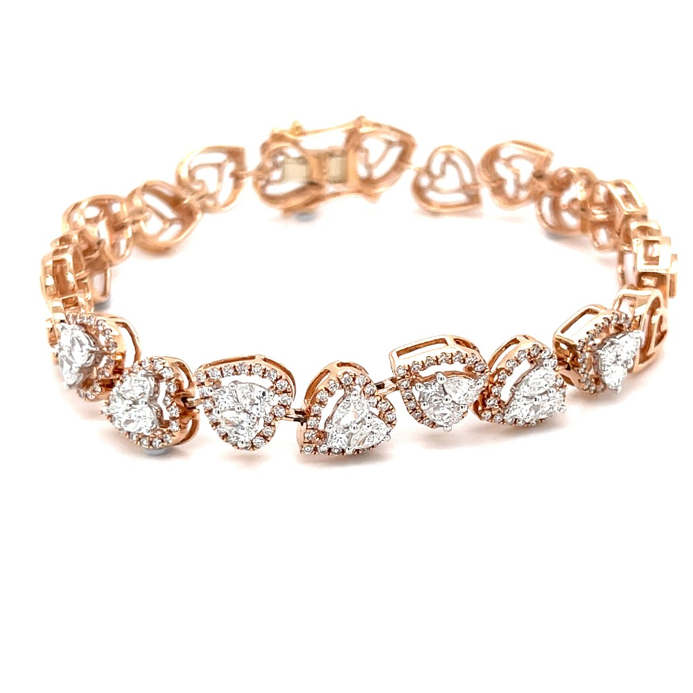 Mirum Heart Shaped Tennis Bracelet for Valentines in Diamonds