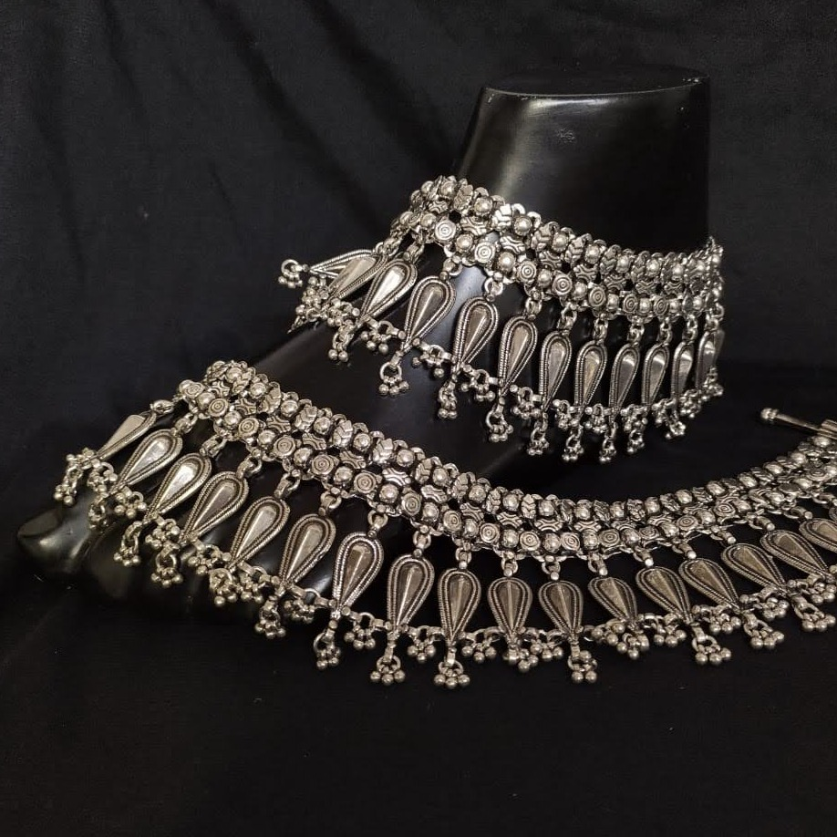 925 pure silver payal in rajwada style po-208-01