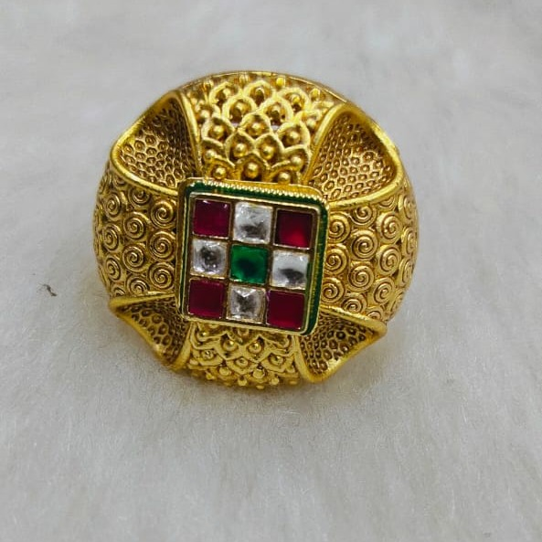 22k antique jadatar rajwadi style ring