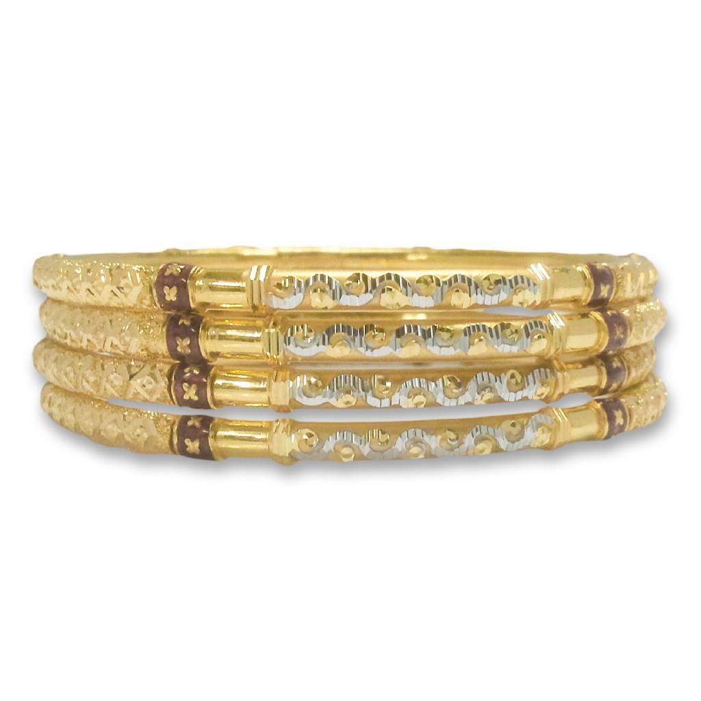 22KT/916 ZIGZAG DESIGNED GOLD COPPER KADLI BANGLE