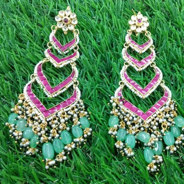 Beautiful Earrings With Pink Diamonds And Navy Blue Beads
