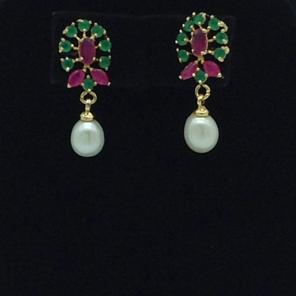 Pearls, Ruby And Emeralds ChokerSet With 3Line FlatPearls Mala JPS0551