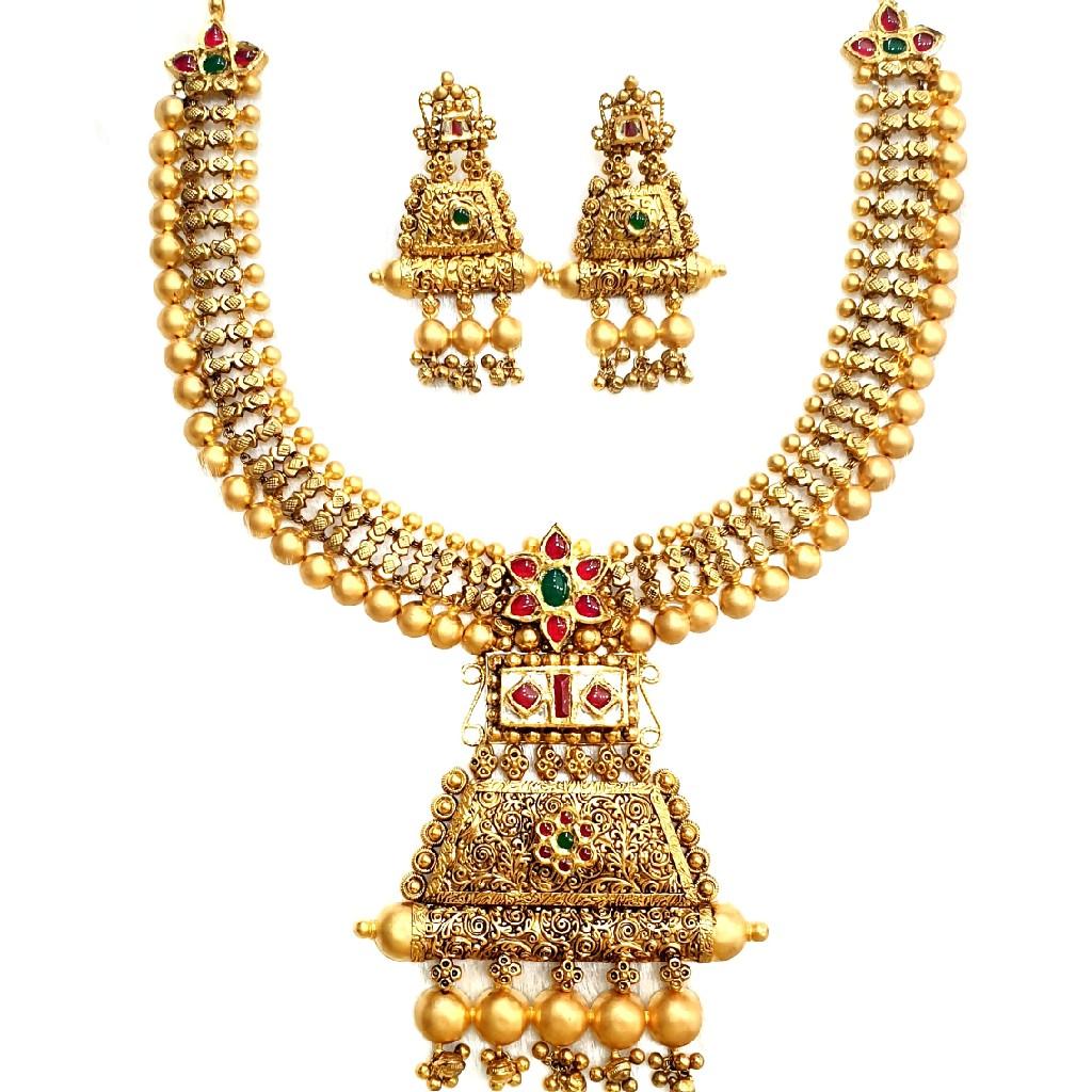 916 gold antique necklace set mga - gn014