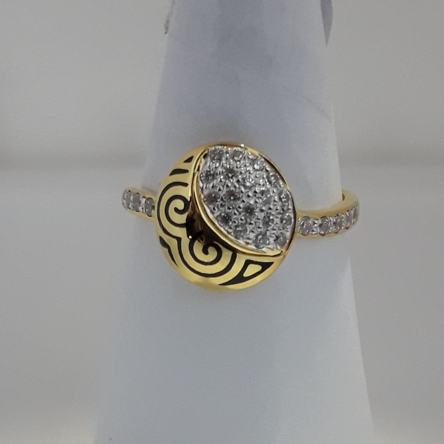 916 Gold round shape fancy carving ring MJ-CI6697