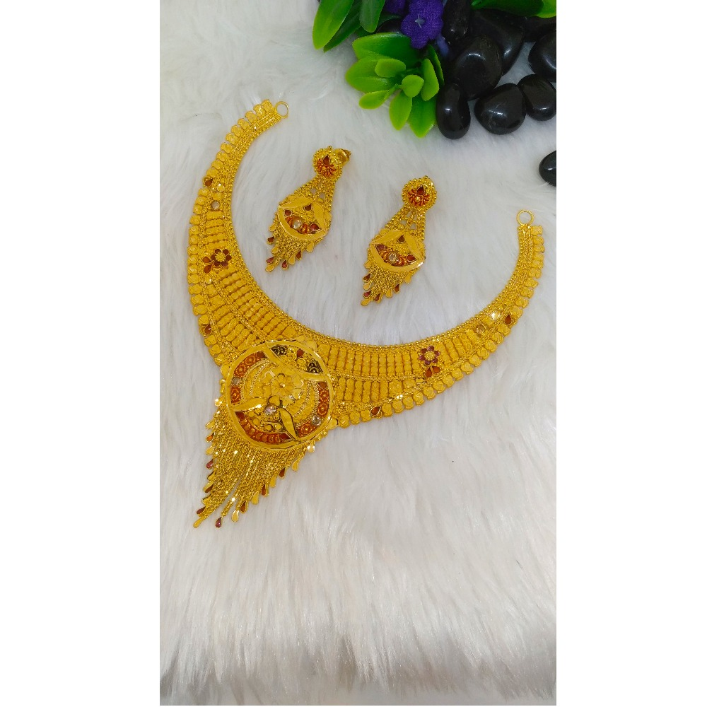 916 Gold Designer Short Necklace Set PO-N006