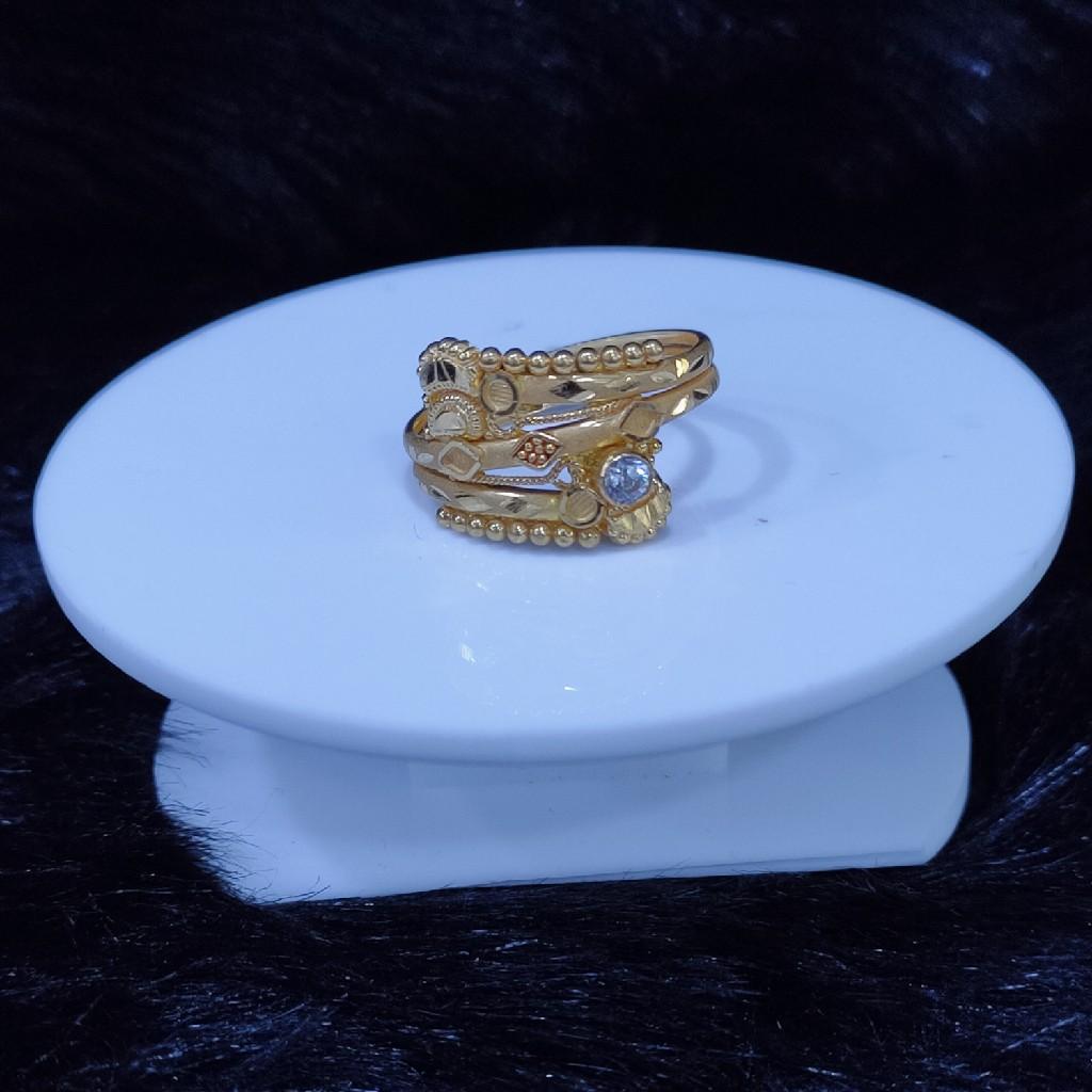 22KT/916 Yello Gold Zebra Chevron Ring For Women