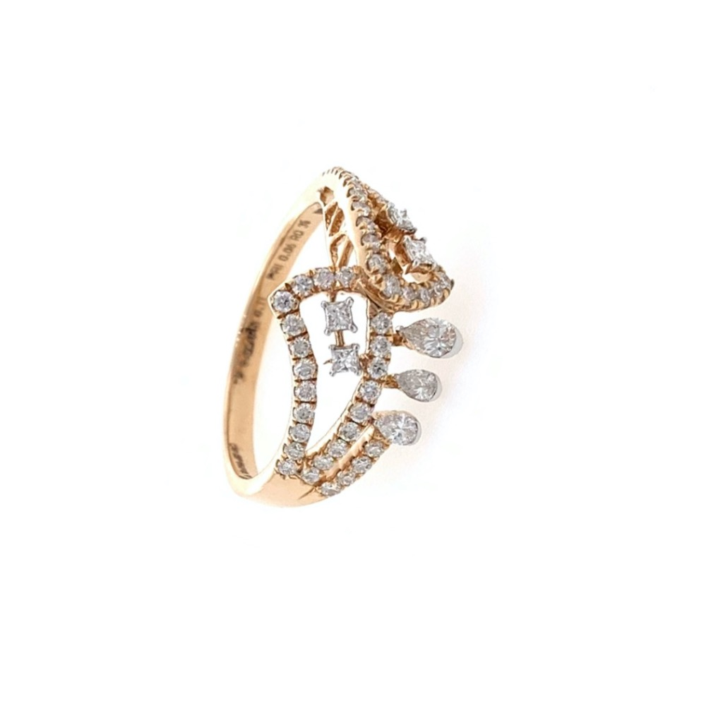 Fancy ring with round and pear diamond in 18k rose gold - 2.950 grams - vvs ef - 0.51 carats - 0lr71