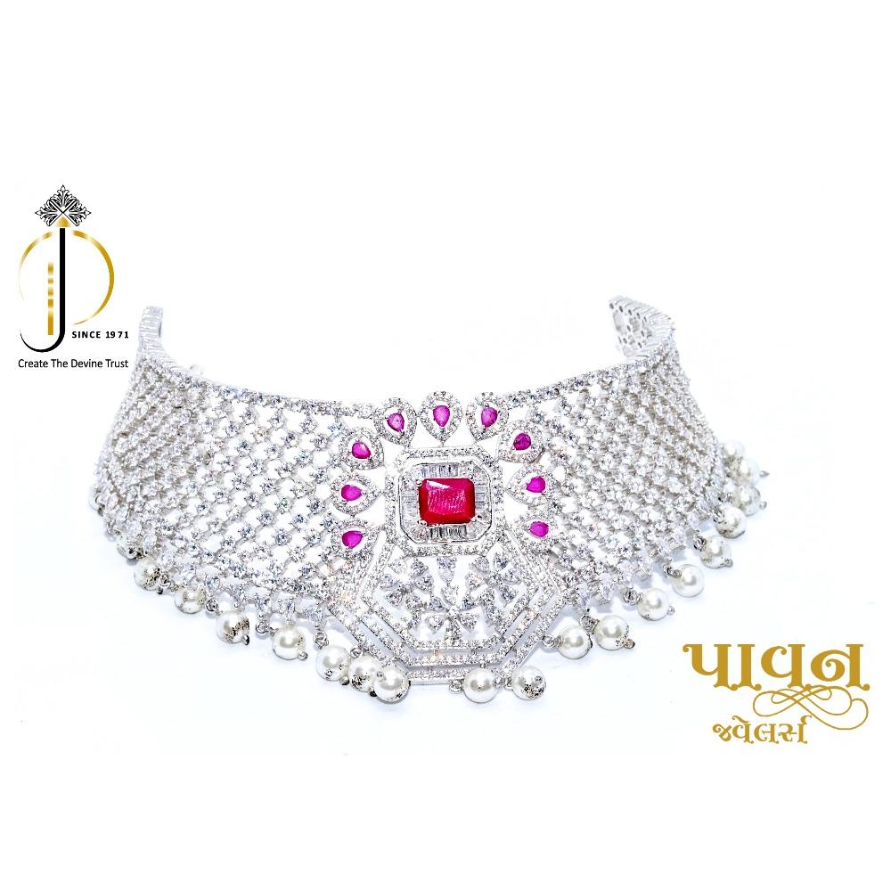 925 starling silver most beautiful bridal choker necklace set sts0001