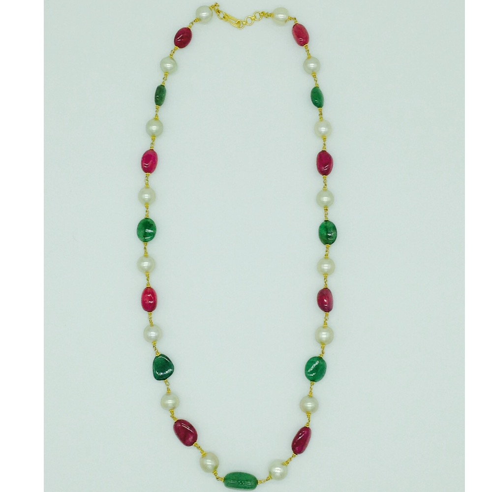 South sea pearls with ruby;emerald tumbles gold taar necklace jgt0006