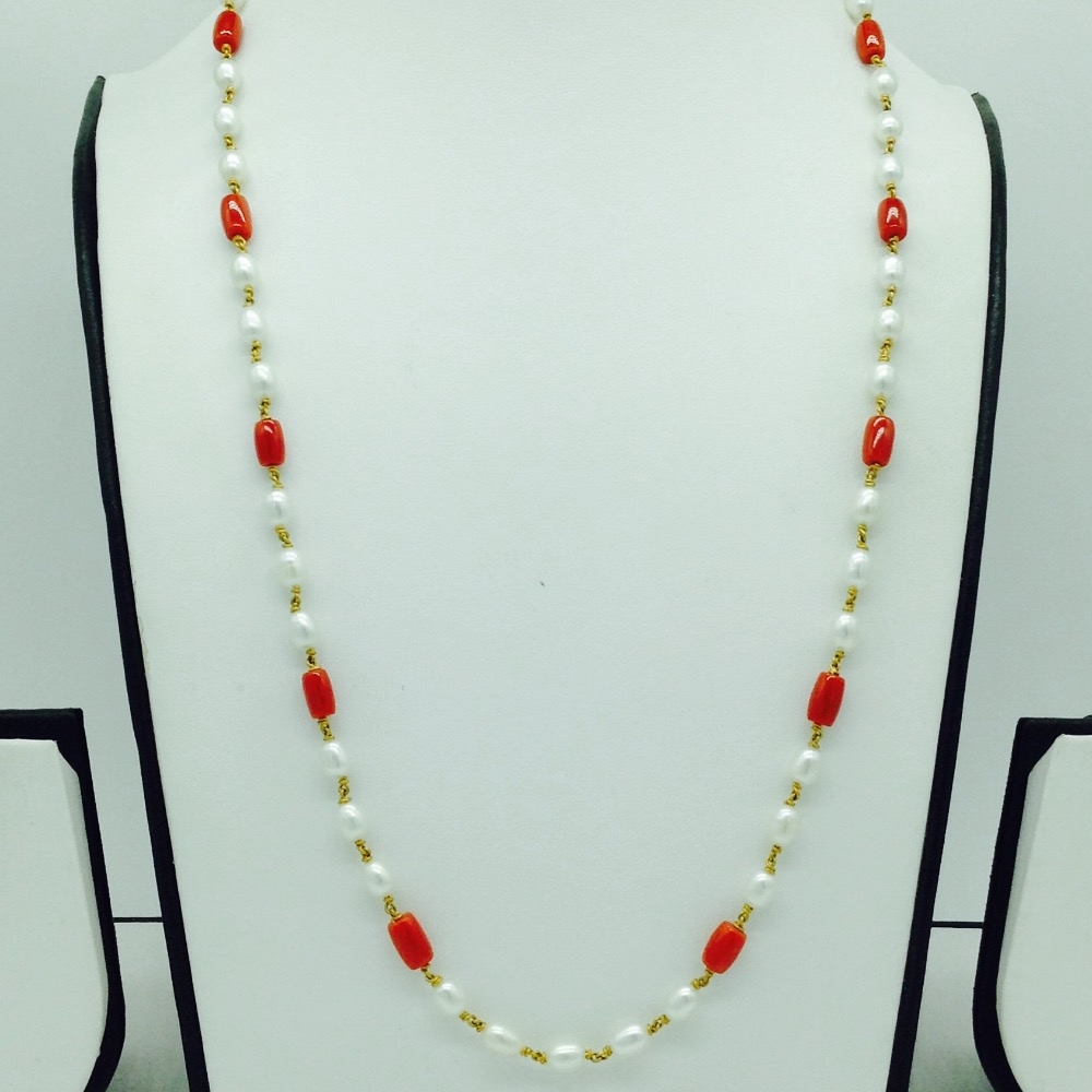 White oval pearls with corals dholkigold taar necklace jgt0010